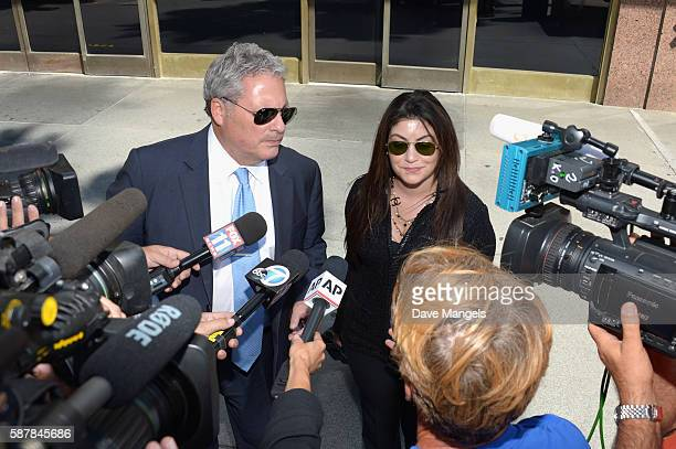 Amber Heard's lawyer Samantha Spector departs a court appearance at Stanley Mosk Courthouse on August 9 2016 in Los Angeles California Heard is...