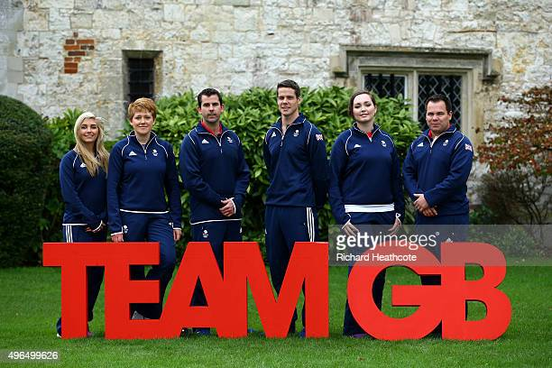 Amber Hill Elena Allen Ed Ling Tim Kneale Jennifer McIntosh and Steve Scott pose for a picture during the Team GB announcement of the Shooting Team...