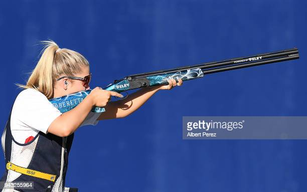Amber Hill of England competes in the Women's Skeet final during Shooting on day four of the Gold Coast 2018 Commonwealth Games at Belmont Shooting...
