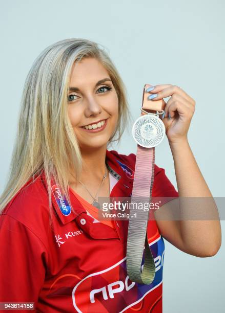 Amber Hill of England poses with her Silver medal on day five of the Gold Coast 2018 Commonwealth Games at Team England Head Quarters on April 9 2018...