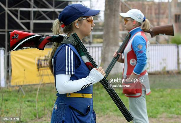 Amber Hill of Great Britain and Natalia Vinogradova of Russia compete in the Women's Skeet Shooting on Day 1 of the ISSF World Championship Shotgun...