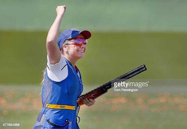 Amber Hill of Great Britain celebrates winning the gold medal during the Women's Skeet shooting final during day eight of the Baku 2015 European...