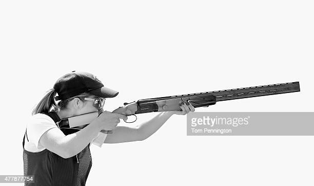 Amber Hill of Great Britain competes during the Women's Skeet shooting fina during day eight of the Baku 2015 European Games at the Baku Shooting...