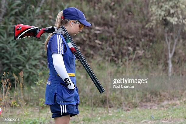 Amber Hill of Great Britain competes in the Women's Skeet Shooting Qualification on Day 2 of the ISSF World Championship Shotgun at Las Palmas...