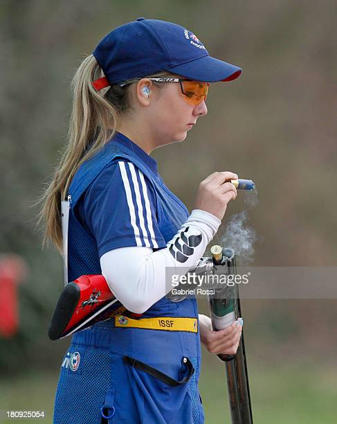 Amber Hill of Great Britain competes in the Women's Skeet Shooting Final on Day 2 of the ISSF World Championship Shotgun at Las Palmas Shooting Range...