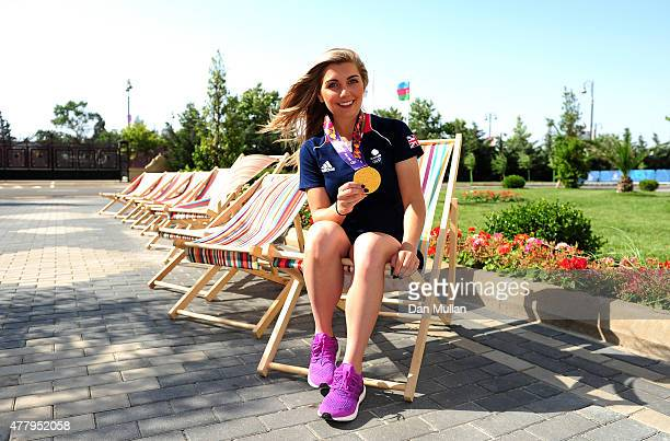 Amber Hill of Great Britain poses with her gold medal from the Women's Skeet Shooting at the Athletes Village on June 21 2015 in Baku Azerbaijan