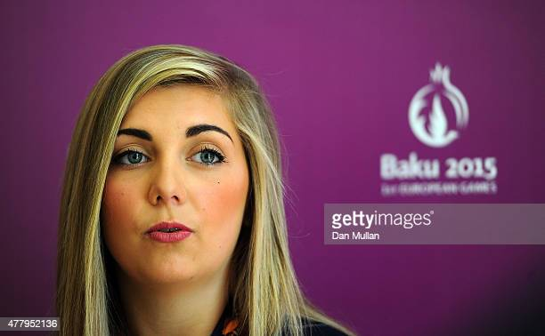 Amber Hill of Great Britain talks to the media after winning the gold medal in the Women's Skeet Shooting at the Athletes Village on June 21 2015 in...