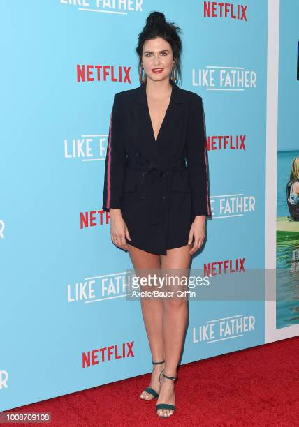 Amber Hodgkiss arrives at the premiere of Netflix's 'Like Father' at ArcLight Hollywood on July 31 2018 in Hollywood California
