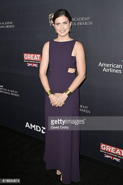Amber Hodgkiss attends the 2016 AMD British Academy Britannia Awards Presented by Jaguar Land Rover and American Airlines at The Beverly Hilton Hotel...