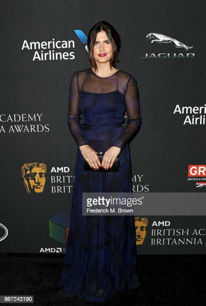 Amber Hodgkiss attends the 2017 AMD British Academy Britannia Awards Presented by American Airlines And Jaguar Land Rover at The Beverly Hilton Hotel...