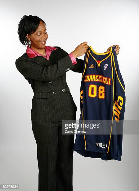 Amber Holt from Middle Tennessee State University the number 9 overall pick by the Connecticut Sun poses for a portrait during the 2008 WNBA Draft on...