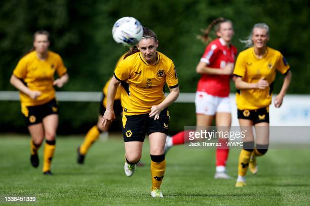Amber Hughes of Wolverhampton Wanderers in action during the FAWNL Northern Premier Division match between Wolverhampton Wanderers Women and...