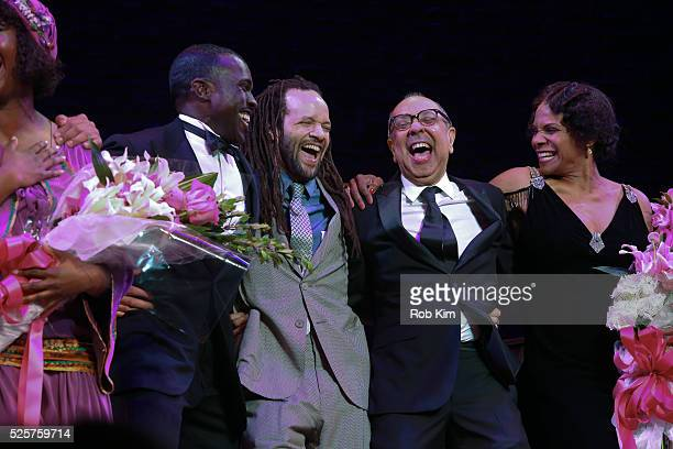 Amber Iman Joshua Henry Savion Glover George C Wolfe and Audra McDonald onstage during the opening night curtain call for 'Shuffle Along' at The...