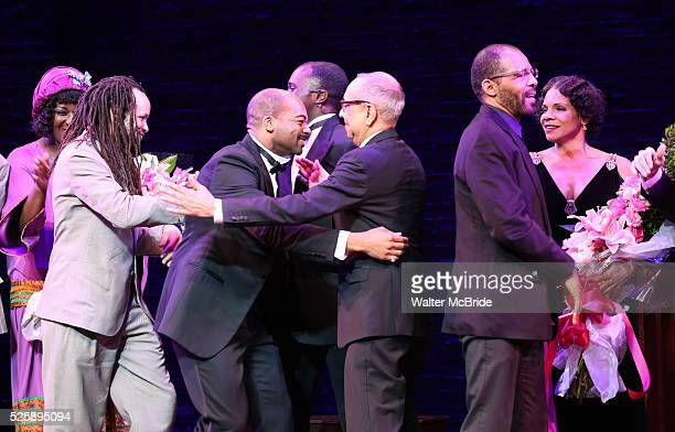 Amber Iman Savion Glover Brandon Victor Dixon Joshua Henry George C Wolfe Daryl Waters and Audra McDonald during the Broadway Opening Night Curtain...