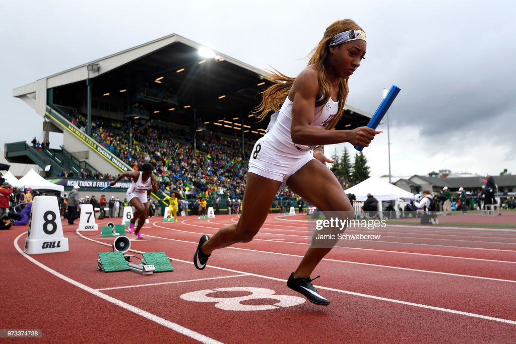 Amber Ivy of the Texas A&M Aggies takes off from the blocks in the 4x100 meter relay during the Division I Women's Outdoor Track & Field Championship held at Hayward Field on June 9, 2018 in Eugene, Oregon.