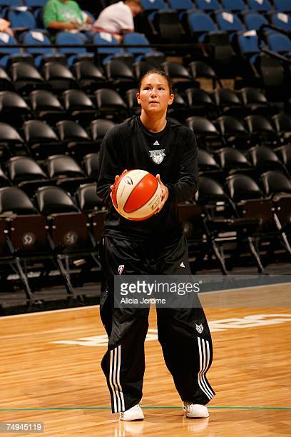Amber Jacobs of the Minnesota Lynx shoots during warmups before the WNBA game against the Connecticut Sun on June 13 2007 at Target Center in...