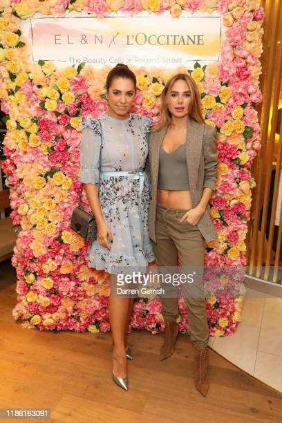 Amber Le Bon and Kimberley Garner attend the L'Occitane x ELN Cafe Launch Party at their Flagship store on Regent Street on November 07 2019 in...