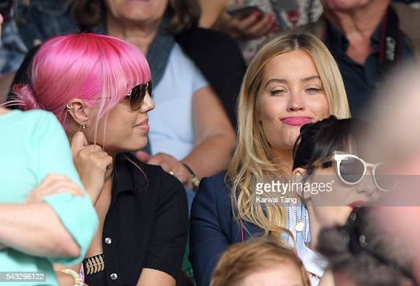 Amber Le Bon and Laura Whitmore attend day one of the Wimbledon Tennis Championships at Wimbledon on June 27 2016 in London England