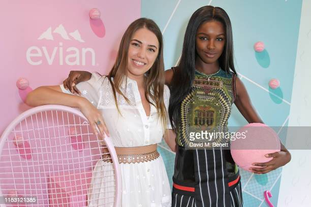 Amber Le Bon and Leomie Anderson attend the evian Live Young suite at The Championships, Wimbledon 2019 on July 1, 2019 in Wimbledon, England.