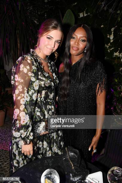 Amber Le Bon and Naomi Campbell attend Dolce Gabbana Queen Of Hearts Party show during Milan Fashion Week Spring/Summer 2018 at on September 24 2017...