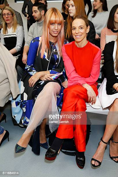 Amber Le Bon and Tiphaine De Lussy attend the Antonio Berardi LFW AW16 runway show at Brewer Street Car Park on February 22, 2016 in London, England.