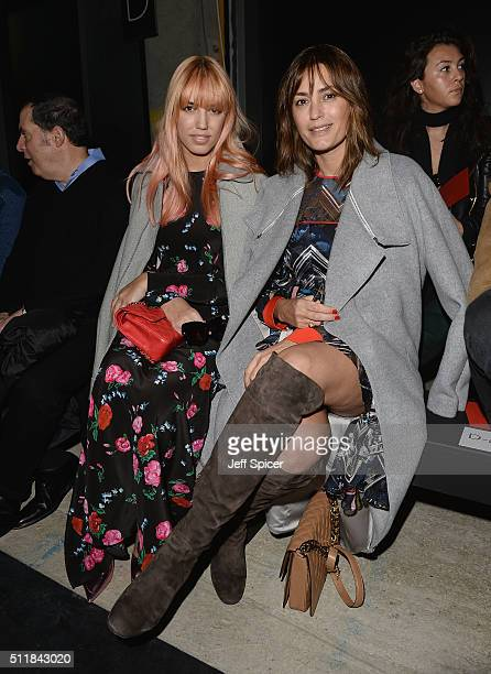 Amber Le Bon and Yasmin Le Bon attend the Amanda Wakeley show during London Fashion Week Autumn/Winter 2016/17 at 2 Pancras Square on February 23...