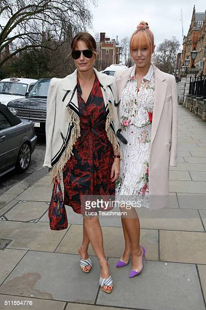 Amber Le Bon and Yasmin Le Bon attend the Vivienne Westwood show during London Fashion Week Autumn/Winter 2016/17 at on February 21 2016 in London...