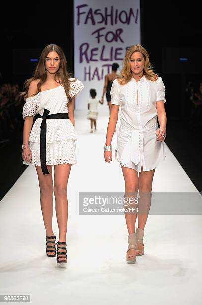 Amber Le Bon and Yasmin Le Bon walks down the catwalk at Naomi Campbell's Fashion For Relief Haiti London 2010 Fashion Show at Somerset House on...