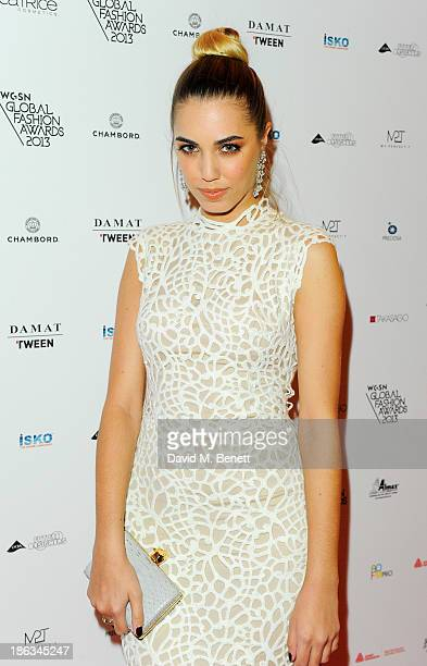 Amber Le Bon arrives at The WGSN Global Fashion Awards at the Victoria Albert Museum on October 30 2013 in London England