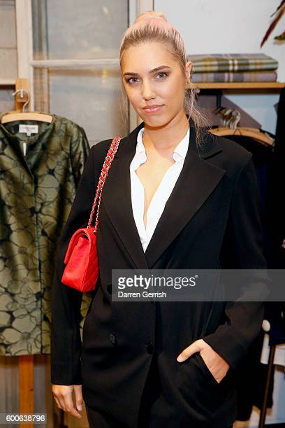 Amber Le Bon attends the book launch of Matthew Williamson Fashion Print Colouring by Laurence King Publishing at Anthropologie on September 8 2016...