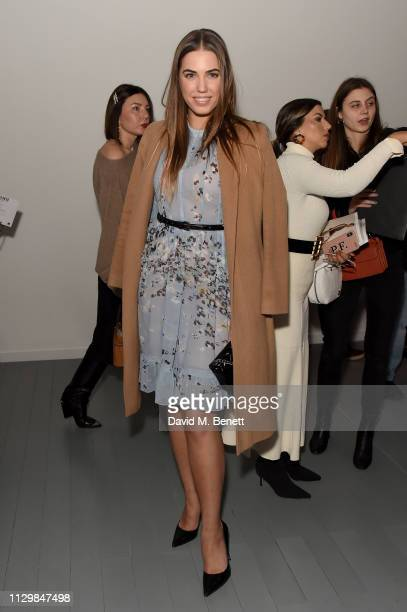 Amber le Bon attends the Bora Aksu show during London Fashion Week February 2019 at BFC Show Space on February 15, 2019 in London, England.