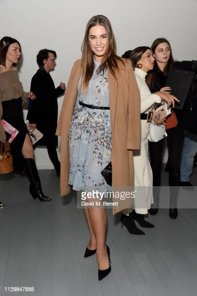 Amber le Bon attends the Bora Aksu show during London Fashion Week February 2019 at BFC Show Space on February 15 2019 in London England