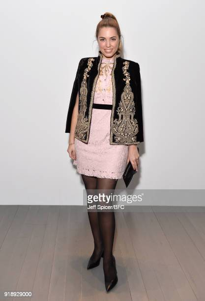Amber Le Bon attends the Bora Aksu show during London Fashion Week February 2018 at BFC Show Space on February 16 2018 in London England