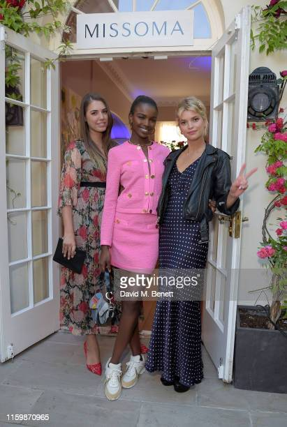 Amber Le Bon Leomie Anderson and Pixie Geldof attend the Missoma Summer Party at the Residence of the Embassy of Colombia on July 03 2019 in London...