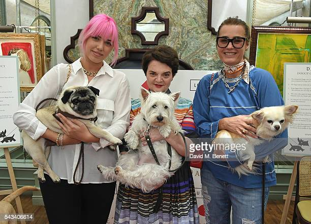 Amber Le Bon Lulu Guinness and Yasmin Le Bon attend the launch of the Lulu Guinness Daphne's Dog Bowl at Daphne's on June 28 2016 in London England