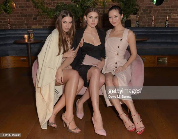 Amber Le Bon Sabrina Percy and Betty Bachz attend Valentine's Day dinner hosted by PerrierJouet and Atelier Romy at The Living Room Champagne and...
