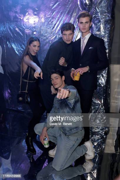 Amber Le Bon Sam Way Toby HuntingtonWhiteley and Samuel Harwood attend Bumble's Christmas party at Omeara London on December 18 2019 in London England