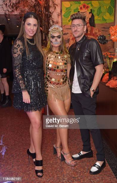 Amber Le Bon Sophia Hadjipanteli and Henry Holland attend Ella Canta's Day of the Dead celebration on October 30 2019 in London England