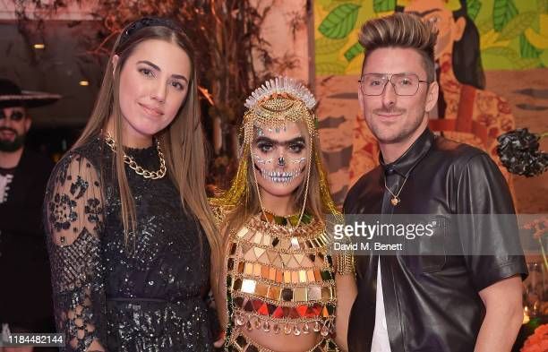 Amber Le Bon Sophia Hadjipanteli and Henry Holland attends Ella Canta's Day of the Dead celebration on October 30 2019 in London England