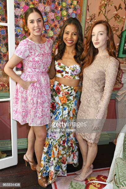 Amber Le Bon Viscountess Emma Weymouth and Olivia Grant attend the launch of BeeBazaarcouk supported by PerrierJouet at Annabel's on May 1 2018 in...