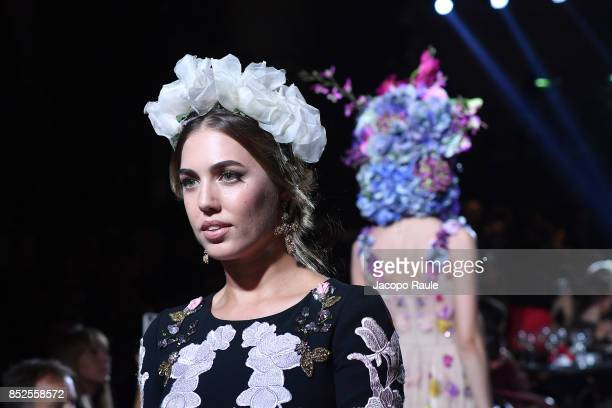 Amber Le Bon walks the runway at the Dolce Gabbana secret show during Milan Fashion Week Spring/Summer 2018 at Bar Martini on September 23 2017 in...