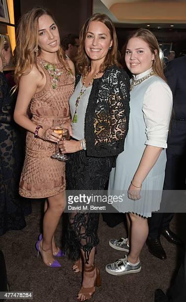Amber Le Bon Yasmin Le Bon and Tallulah Le Bon attend the Red Magazine dinner in honour of Yasmin Le Bon at Bulgari Hotel on June 17 2015 in London...
