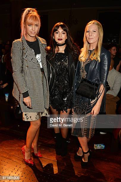 Amber Le Bon Zara Martin and Alice NaylorLeyland attend the Julien Macdonald show during London Fashion Week Autumn/Winter 2016/17 at One Mayfair on...