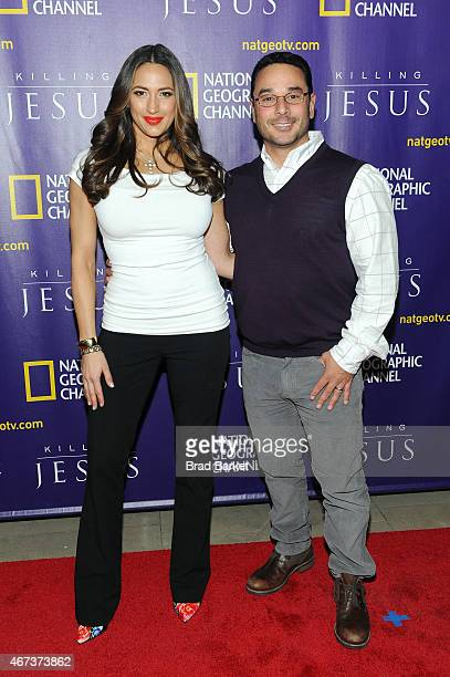 "Amber Marchese and Jim Marchese attend the red carpet event and world premiere of National Geographic Channel's ""Killing Jesus"" at Alice Tully Hall..."
