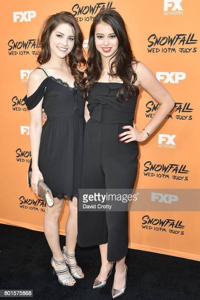Amber Midthunder and Guest attend the Premiere Of FX's Snowfall Arrivals at The Theatre at Ace Hotel on June 26 2017 in Los Angeles California