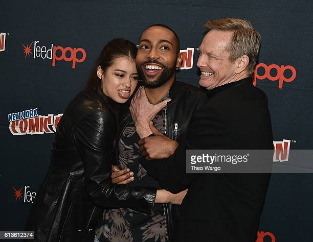 """Amber Midthunder, Jeremie Harris, and Bill Irwin attend the FX Network's """"Legion"""" Press Room during 2016 New York Comic Con at The Javits Center on..."""