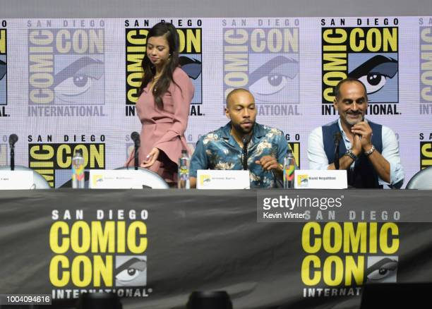 Amber Midthunder Jeremie Harris and Navid Negahban speak onstage at the 'Legion' discussion and QA during ComicCon International 2018 at San Diego...