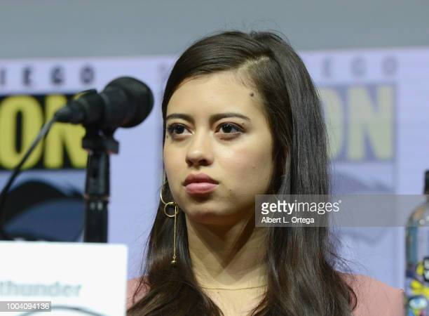 Amber Midthunder speaks onstage at the Legion discussion and QA during ComicCon International 2018 at San Diego Convention Center on July 22 2018 in...