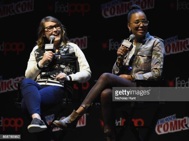 Amber Nash and Aisha Tyler speak at the Archer Danger Island Screening and QA panel during 2017 New York Comic Con Day 3 on October 7 2017 in New...