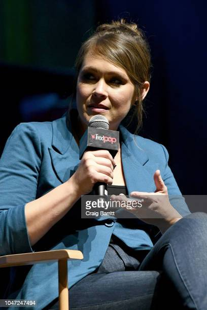 Amber Nash speaks onstage at the Archer 1999 – Sneak Preview and QA during New York Comic Con at Hammerstein Ballroom on October 7 2018 in New York...